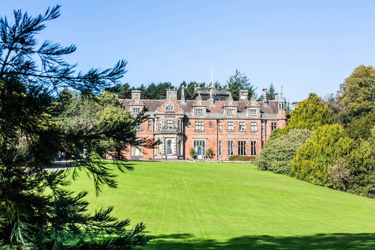 Exterior of lakeside view of Keele Hall